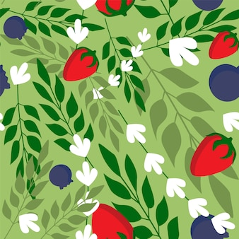 野生のイチゴとハーブの葉のシームレスなパターンの壁紙