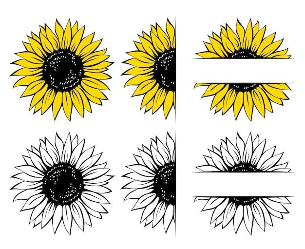 Wild sunflower set flower frame