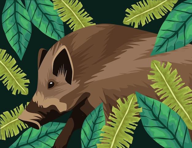 ジャングルの風景の中の野生のバク動物