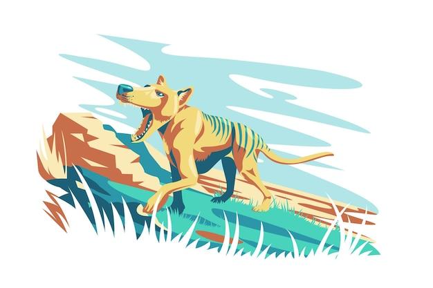 野生のタスマニアタイガー動物ベクトルイラスト野生の自然の野生動物と自然の風景の概念で分離されたタイガー動物フラットスタイルの生き物のユニークなタイプ