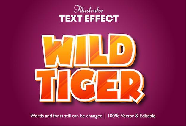 Дикий тигр 3d всплывающий текстовый эффект