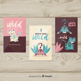 Wild tiger card collection flat design