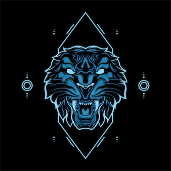 Wild tiger head blue color with abstract geometric ornaments