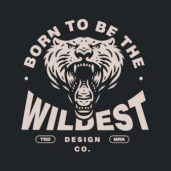野生の虎の頭のイラストテンプレート