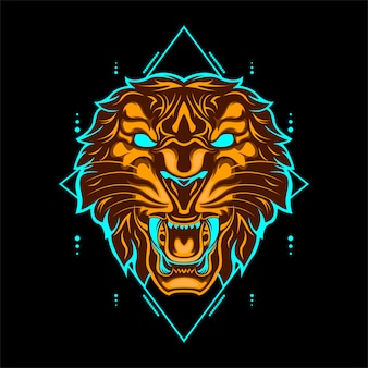 Wild tiger head orange color with abstract geometric ornaments