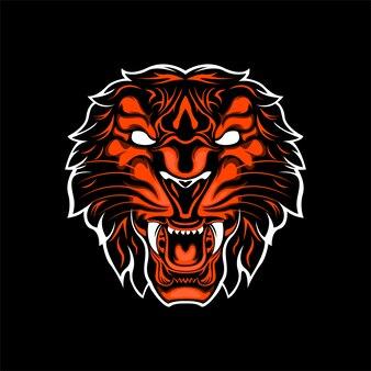 Wild tiger head orange color
