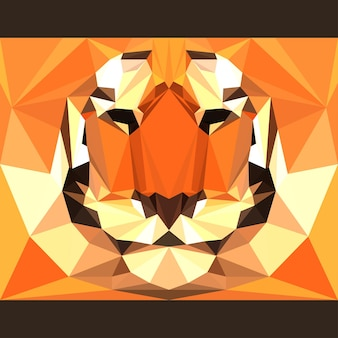 Дикий тигр смотрит вперед. предпосылка темы жизни природы и животных. абстрактная геометрическая многоугольная иллюстрация треугольника для использования в дизайне для открытки, приглашения, плаката, баннера, плаката, обложки рекламного щита