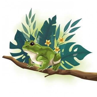 Wild toad animal in tree branch scene