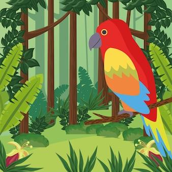 정글에서 야생 열 대 앵무새 새