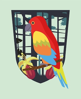 Wild tropical parrot bird in shield frame