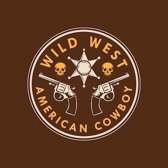 ワイルドウエストアメリカンカウボーイロゴデザイン
