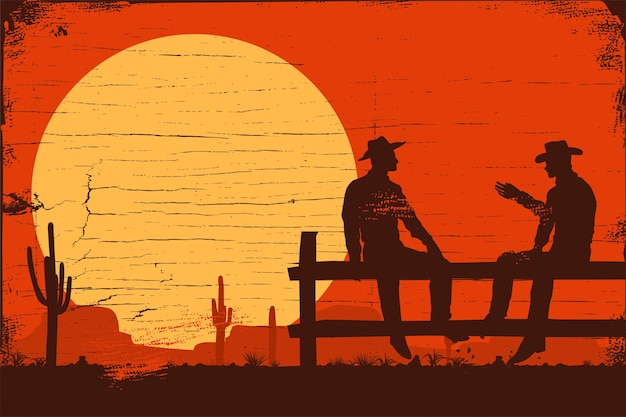 Wild west background, silhouette of cowboys sitting on fence