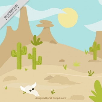 Wild west background with cactus and animal skull