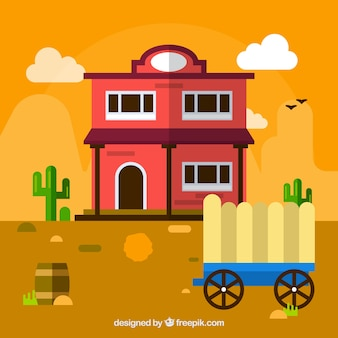 Wild west background with carriage and saloon