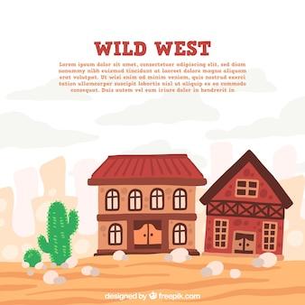 手描きのサルーンと野生の西の背景