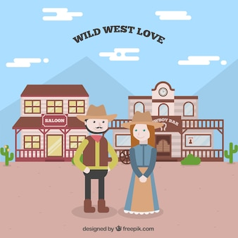 Wild west background with smiling couple