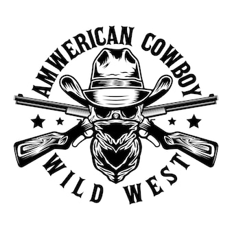 Wild west bandit skull with cowboy hat and guns