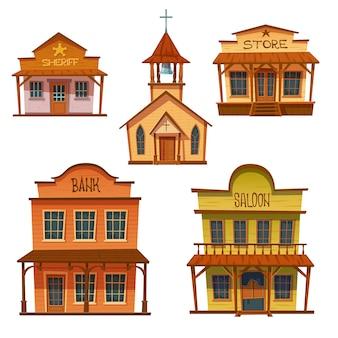 野生の西の建物セット、カウボーイスタイルのデザイン。