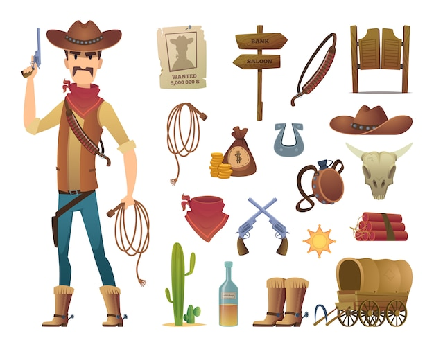 Wild west cartoon. saloon cowboy western lasso symbols  pictures isolated