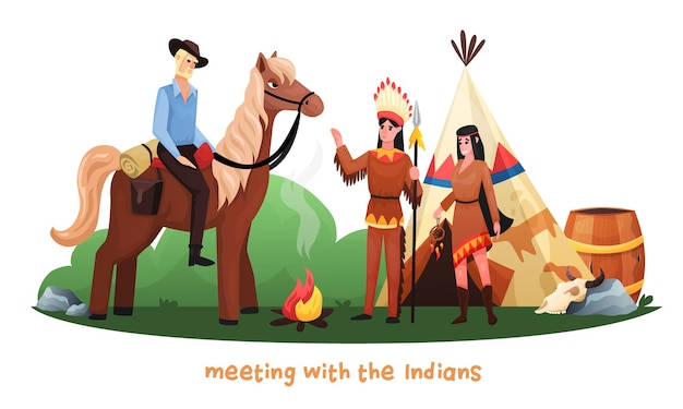 Wild west cartoon with cowboy riding horse meeting with indians in national dress and hunting weapon