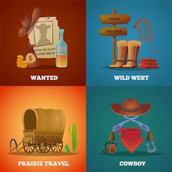 野生の西のコレクション。西部のカウボーイ馬投げ縄サルーンと銃のシンボル