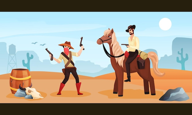 Wild west colored cartoon illustration with cowboy riding horse meeting with gangster holding two guns