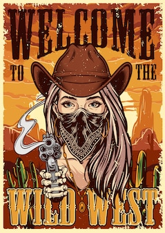 Wild west colorful vintage poster