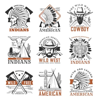 Wild west cowboy, american indians icons