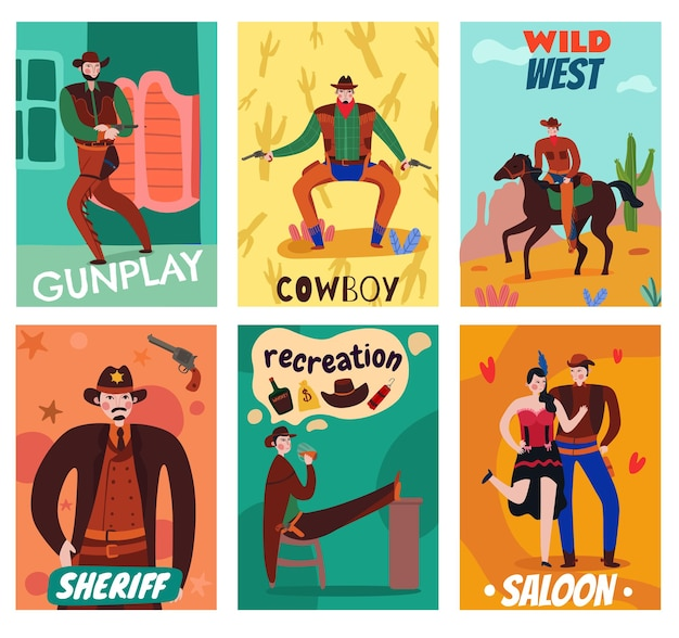 Wild west cowboy cards set