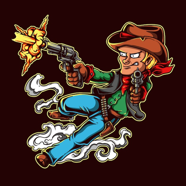 Wild west cowboy character design shooting with gun