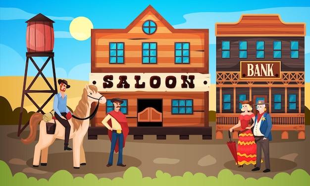 살롱 은행 및 인간 캐릭터와 빈티지 마을 풍경 도시 거리와 와일드 웨스트 카우보이 구성