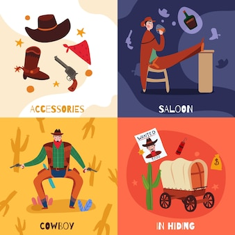 Wild west cowboy design concept with compositions of flat icons text and images of vintage stuff vector illustration