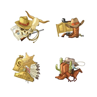 Wild west cowboy elements piles set isolated