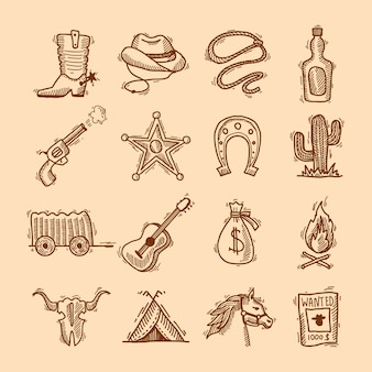Wild west cowboy hand drawn set with saddle sheriff badge horseshoe isolated vector illustration