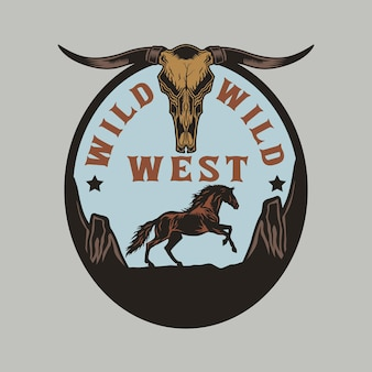 Wild west cowboy long horn and horse badge