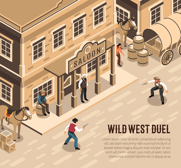 Wild west cowboys with pistols during duel sheriff near entrance of saloon isometric