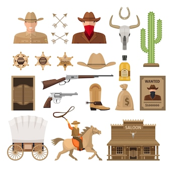 Wild west decorative elements set