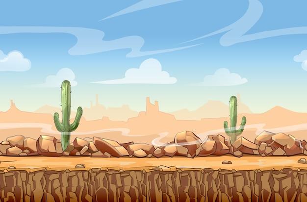 ゲームのための野生の西の砂漠の風景漫画のシームレスなシーン。サボテンと自然、インターフェイスのベクトル図