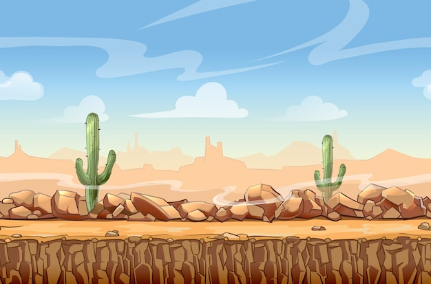 Wild west desert landscape cartoon seamless scene for game. cactus and nature, interface vector illustration