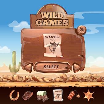 Interfaccia utente del paesaggio del deserto del selvaggio west in stile cartone animato. distintivo e ricercato, targa e ferro di cavallo, stella e dinamite