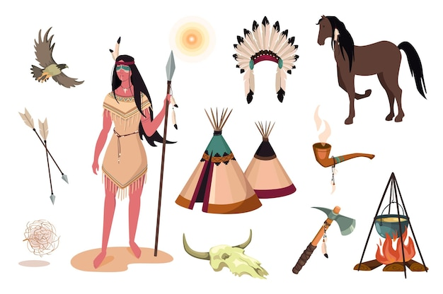 Wild west design elements set. collection of indian woman in traditional dress, buffalo skull, tomahawk, pipe, wigwam, feather headdress. vector illustration isolated objects in flat cartoon style