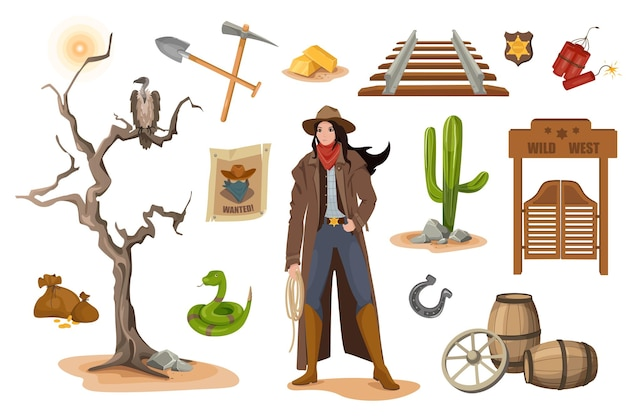 Wild west design elements set. collection of sheriff woman, shovel, gold, railroad, snake, vulture, poster wanted, horseshoe, door at saloon. vector illustration isolated objects in flat cartoon style