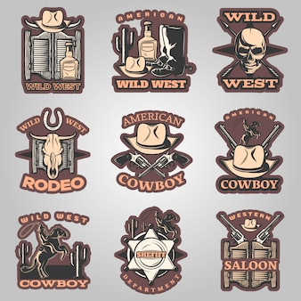 Wild west emblem set in color with western saloon american cowboy and rodeo descriptions