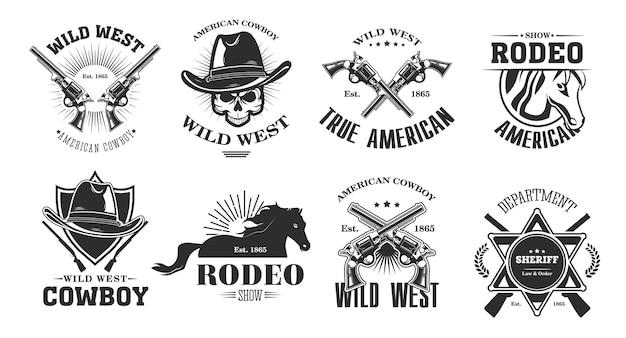 野生の西のエンブレムセット。カウボーイハット、ロデオ馬、交差した銃、保安官のバッジで頭蓋骨を持つ白黒要素。白い背景に分離されたビンテージベクトルイラストコレクション