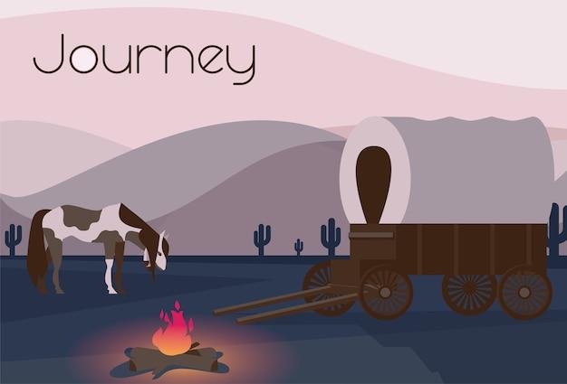 キャンプファイヤーの近くに馬とワゴンがある野生の西部の平らな構成
