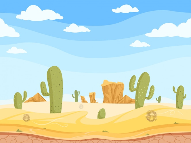Wild west game outdoor western canyon landscape with stones rock sand cactuses vector cartoon illustration