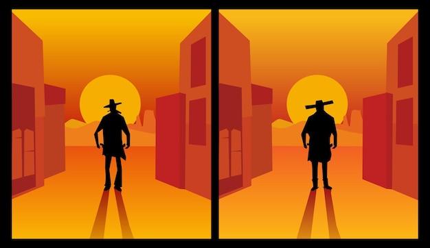 Стрелок дикого запада. фон города и пустыни. цветные плоские векторные иллюстрации