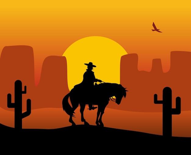 말을 타고 비옷에 와일드 웨스트 총잡이. 배경 사막입니다. 컬러 평면 벡터 일러스트 레이 션
