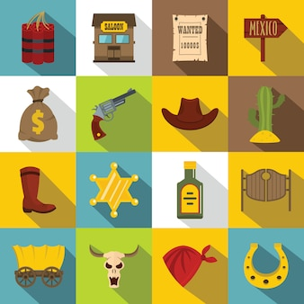 Wild west icons set, flat style