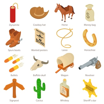 Wild west icons set. isometric illustration of 16 wild west vector icons for web